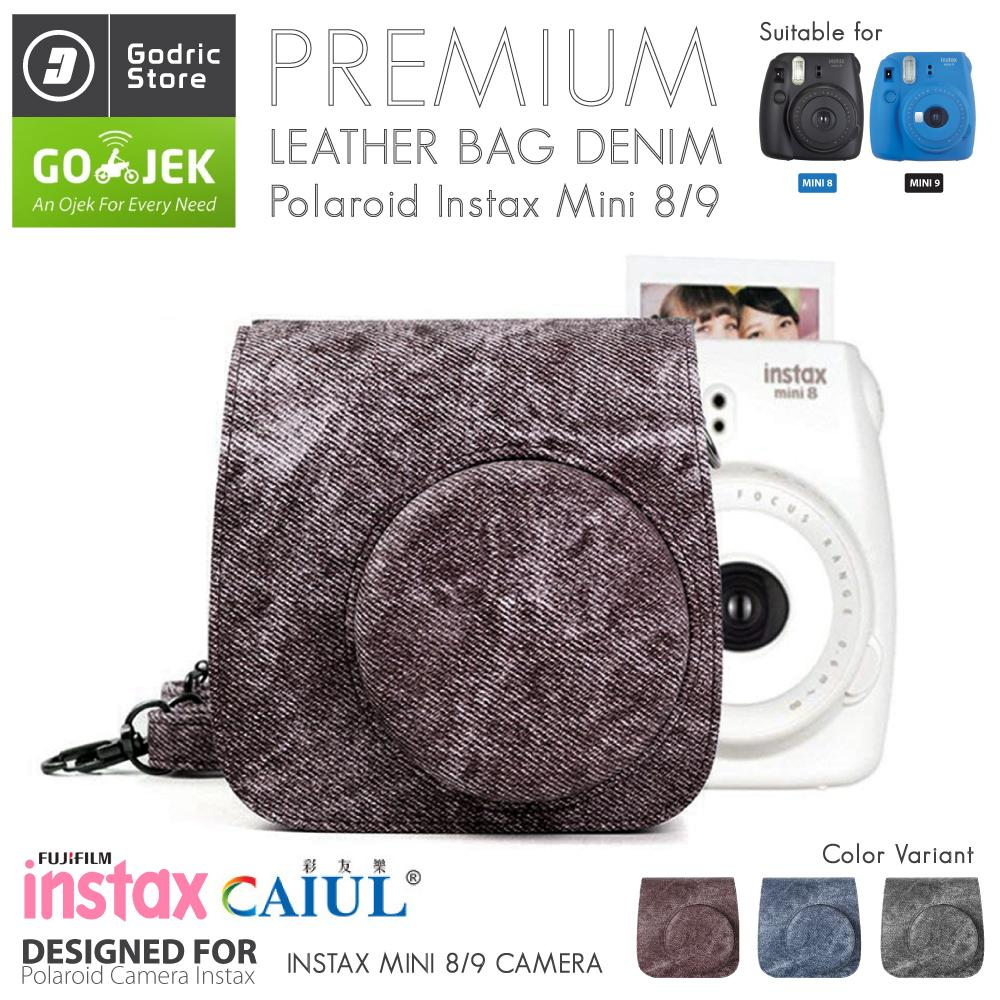 Fujifilm Leather Bag Polaroid Instax Mini 8 & 9 Tas Denim Jeans Cowboy Case