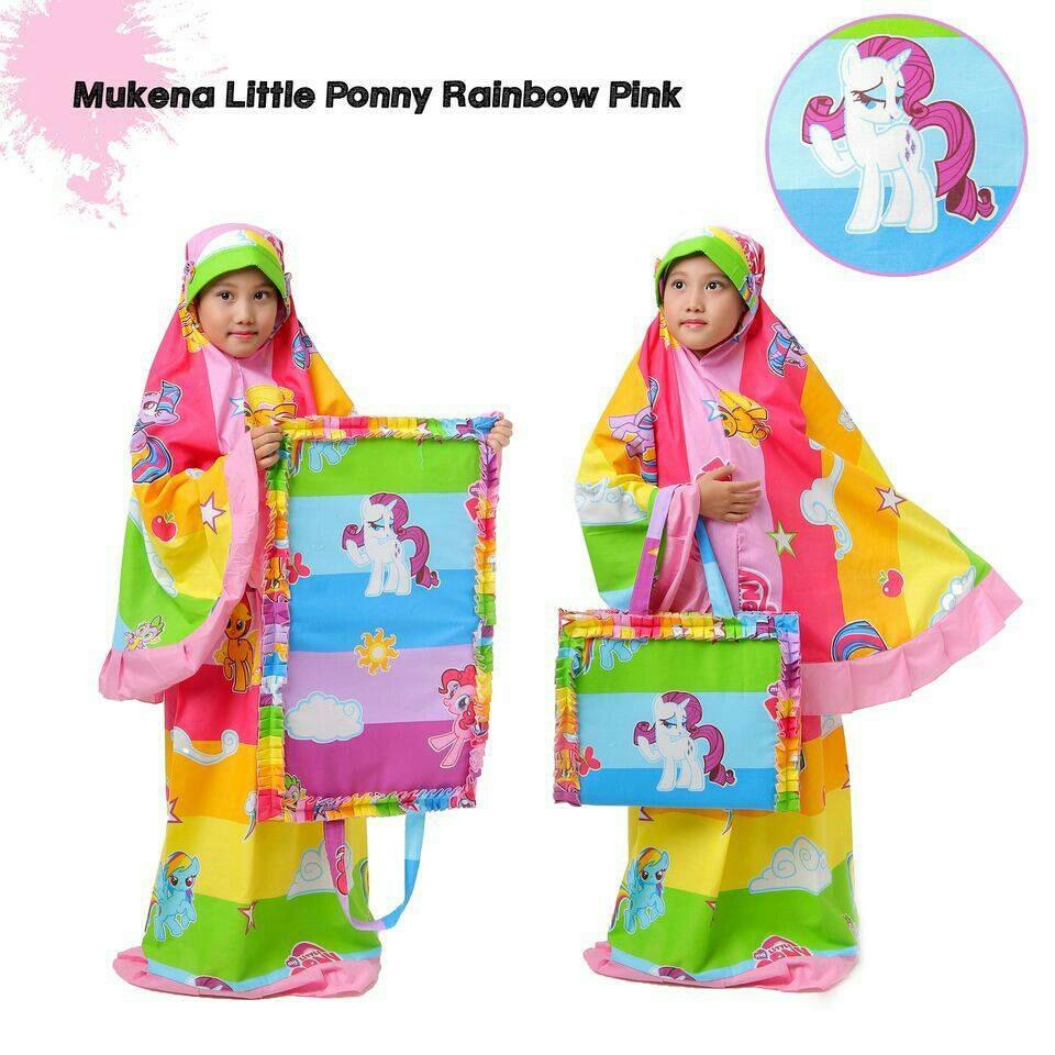 Madeena – Mukena Anak Karakter Little Pony Rainbow - Tas Sajadah