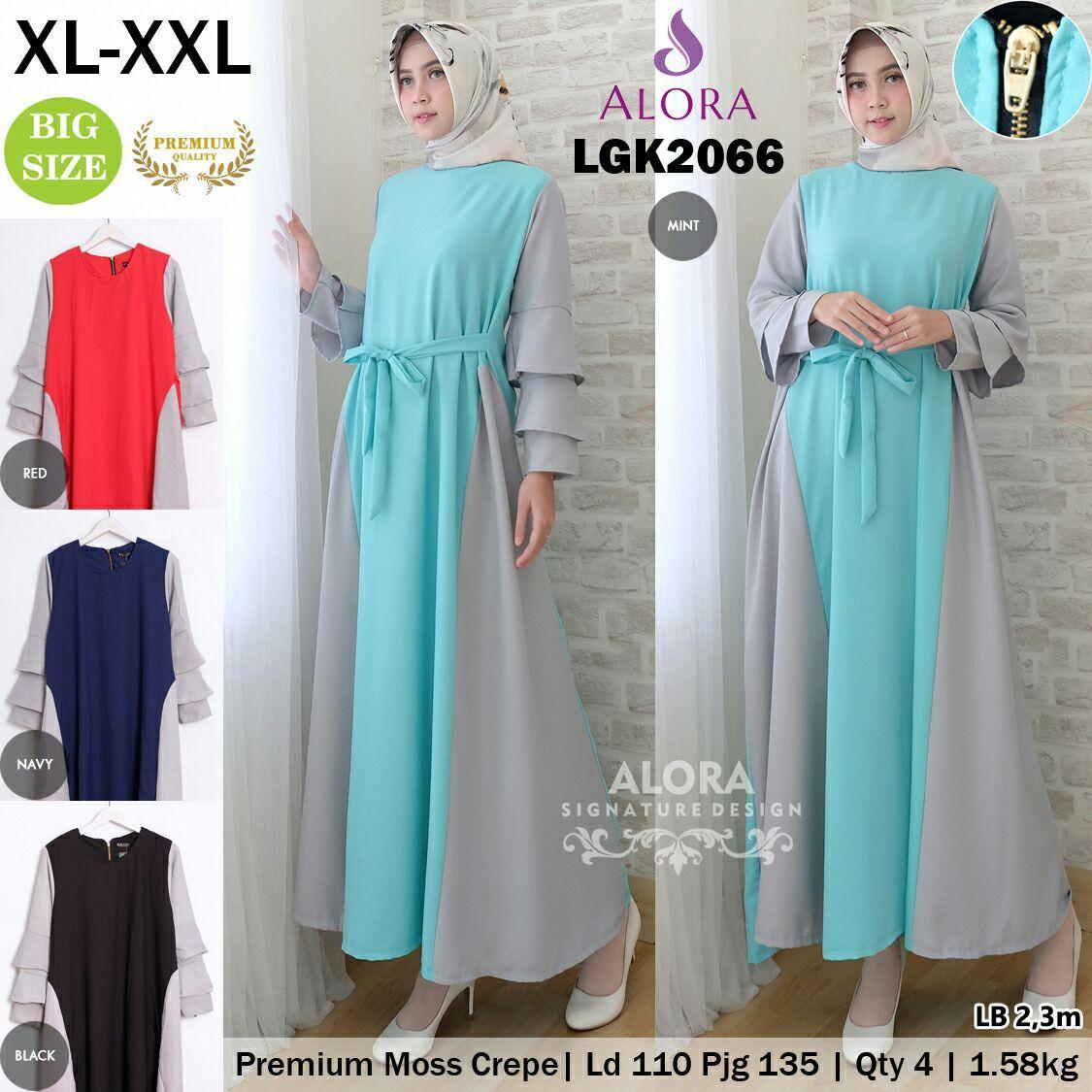 RATU SHOPPING Gamis jumbo size XL XXL Spesial lebaran baju muslim idul fitri ramadhan ceria LGK2066