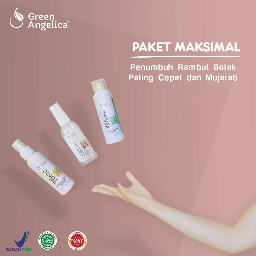 Paket Maksimal Green Angelica Penumbuh Rambut Botak Cepat Atasi Rontok Ketombe Parah Rusak Asli BPOM