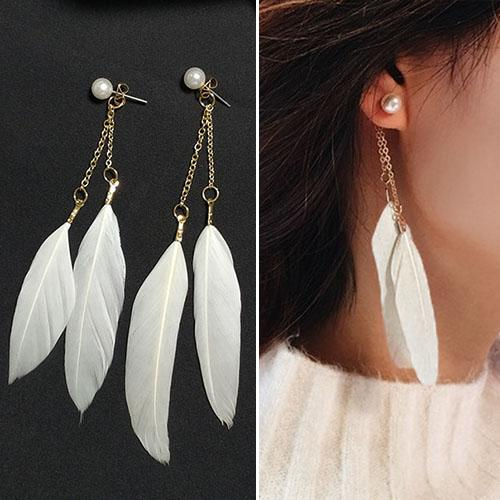 Anting  Double Feather Pearl Long Chain Earrings J4U721