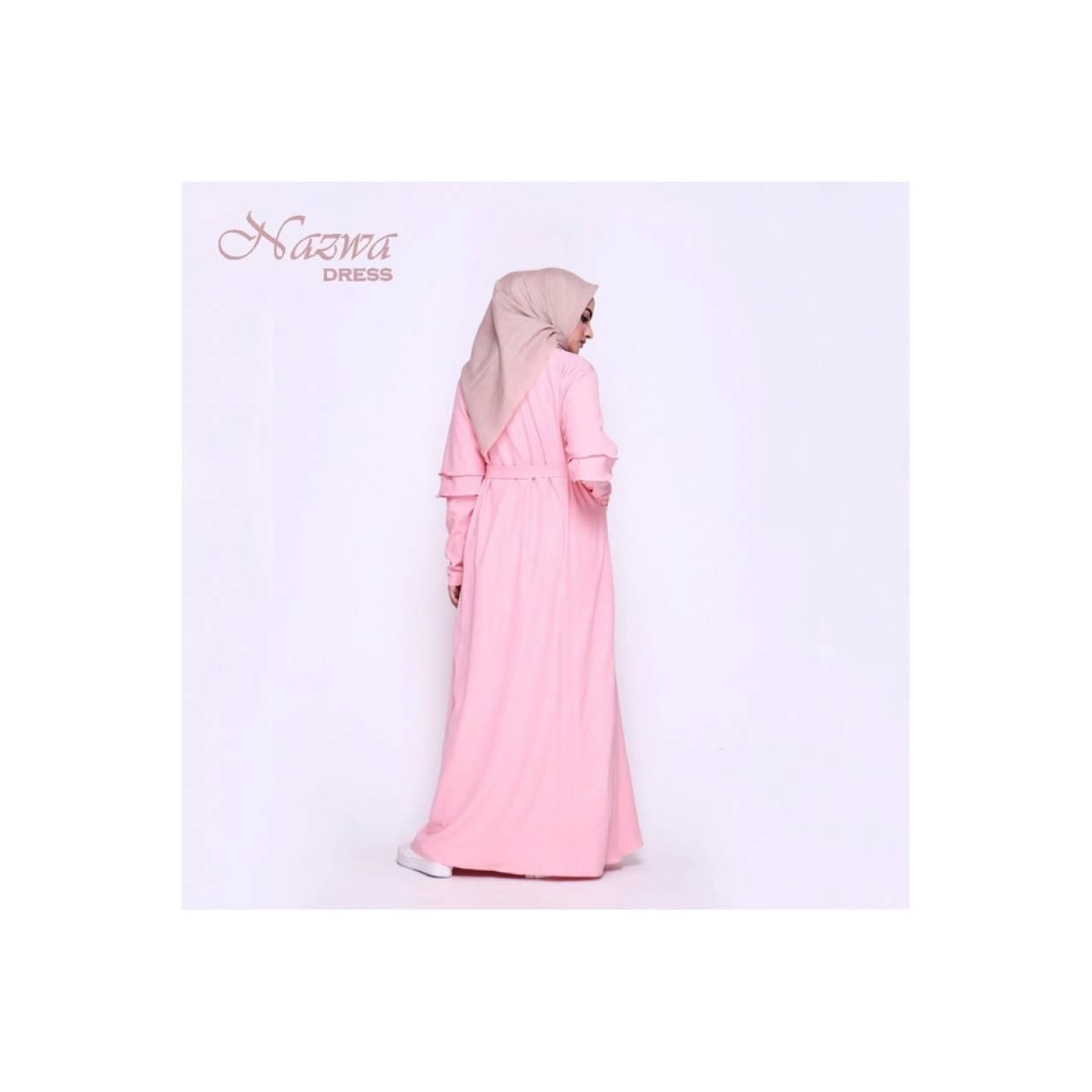 Gamis Wanita Dress Muslim AuliaNazwa Dress Warna Pastel Lengan Panjang - Merah Muda