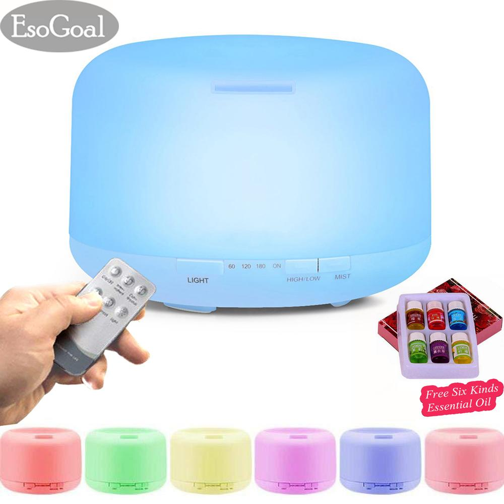 Esogoal 500ml Air Humidifier Aromatherapy Essential Oil Diffuser Cool Mist Humidifier Waterless Auto Shut-Off With 4 Timers And 7 Led Color Changing Lights(remote Included) By Esogoal.