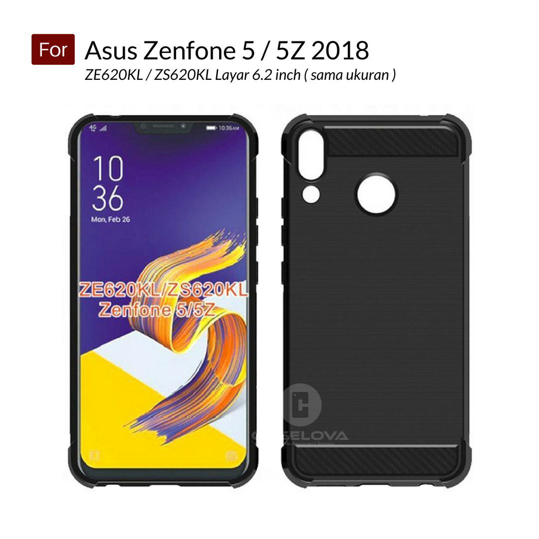 Caselova Corner Protection Cushion Premium Carbon Shockproof TPU Case For Asus Zenfone 5 / 5Z 2018 ( ZE620KL / ZS620KL ) layar 6.2 inch sama ukuran - Black