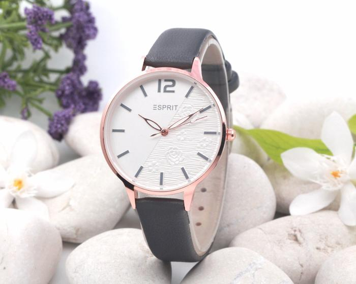 Jam Tangan Wanita / Cewek Esprit Half leather Grey| AMO Store