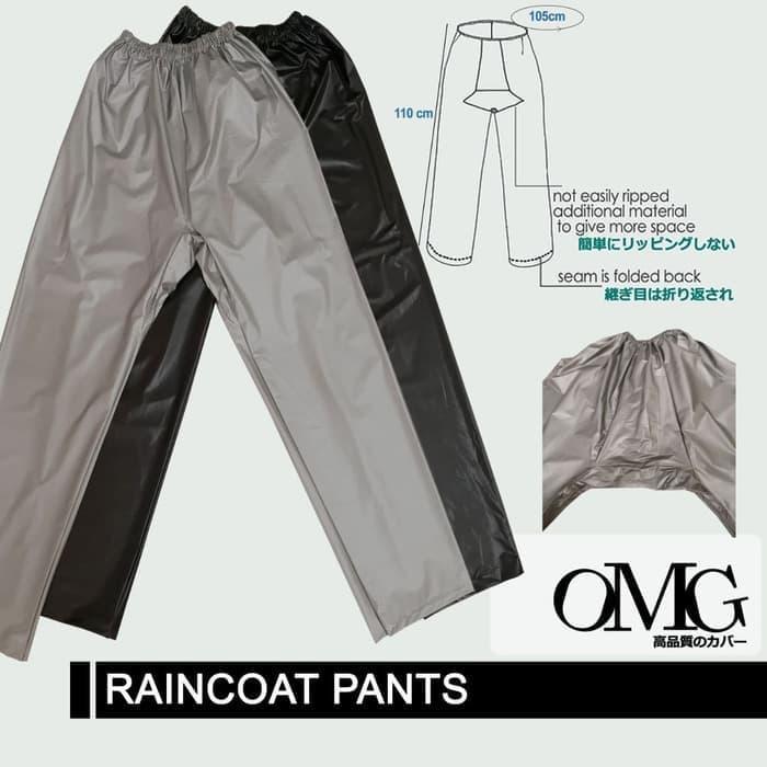 PROMO MURAH - Celana Jas Hujan Karet OMG WaterProof Raincoat Pants Anti Air PVC OKE - Hitam