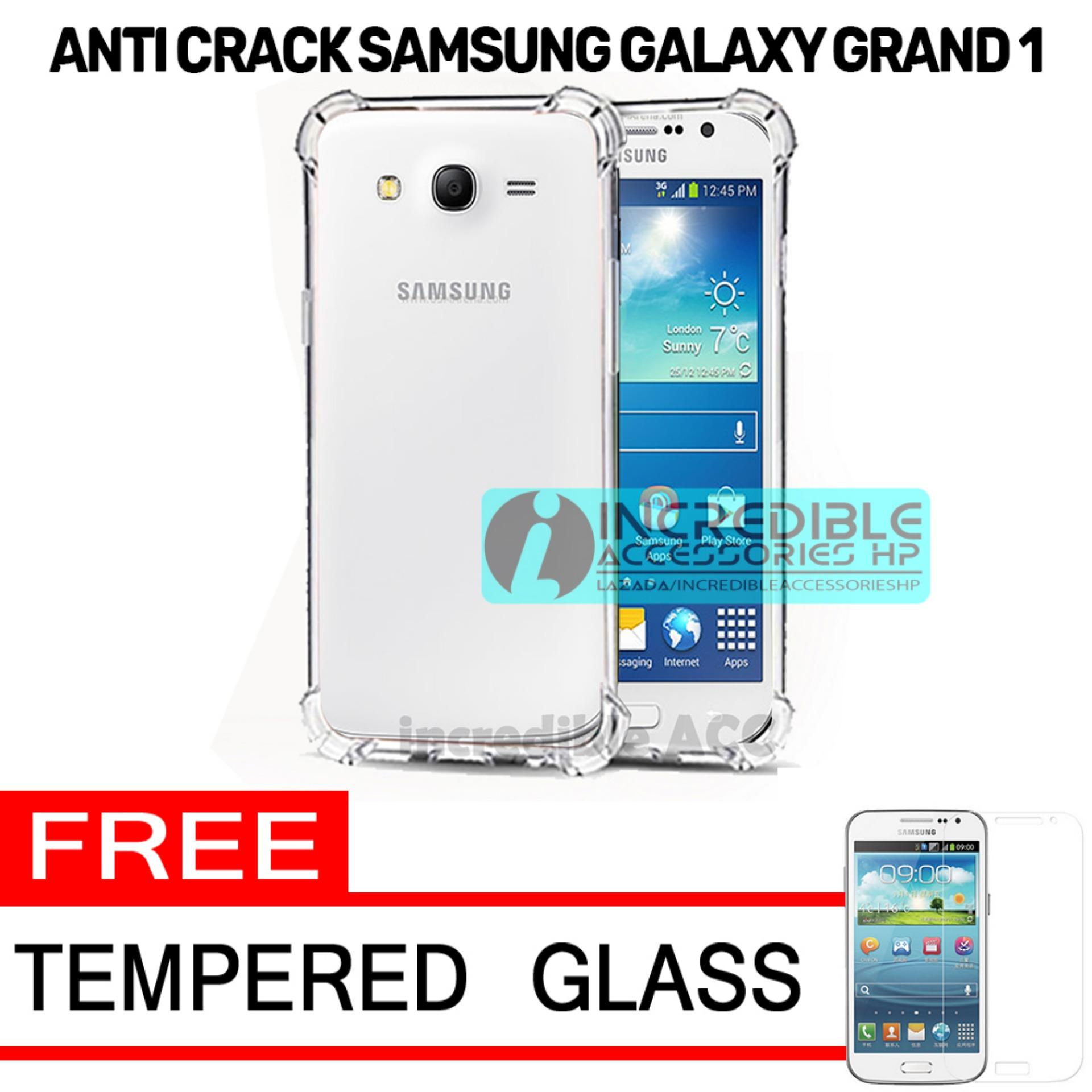 Softcase Silicon Anti Shock / Anti Crack Elegant Softcase  for Samsung Galaxy Grand 1 (I9082) / Galaxy Grand Neo / Galaxy Grand Duos - White Clear + Free Tempered Glass