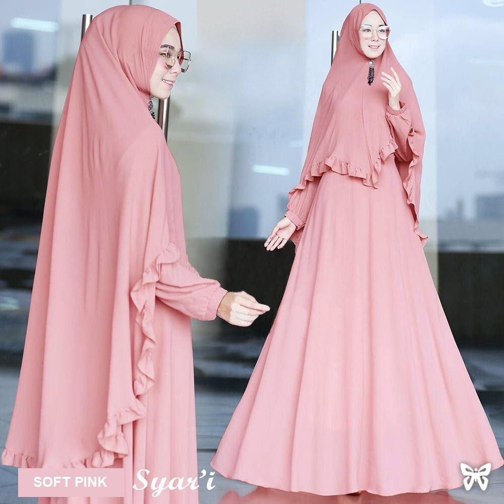 Gamis Syari Set 2 in 1 MSR044 / Baju Muslim Wanita Syar'i / Gaun Muslimah Polos / Maxi Dress Lengan Panjang / Hijab Jilbab Instan Bergo / Srjuanita