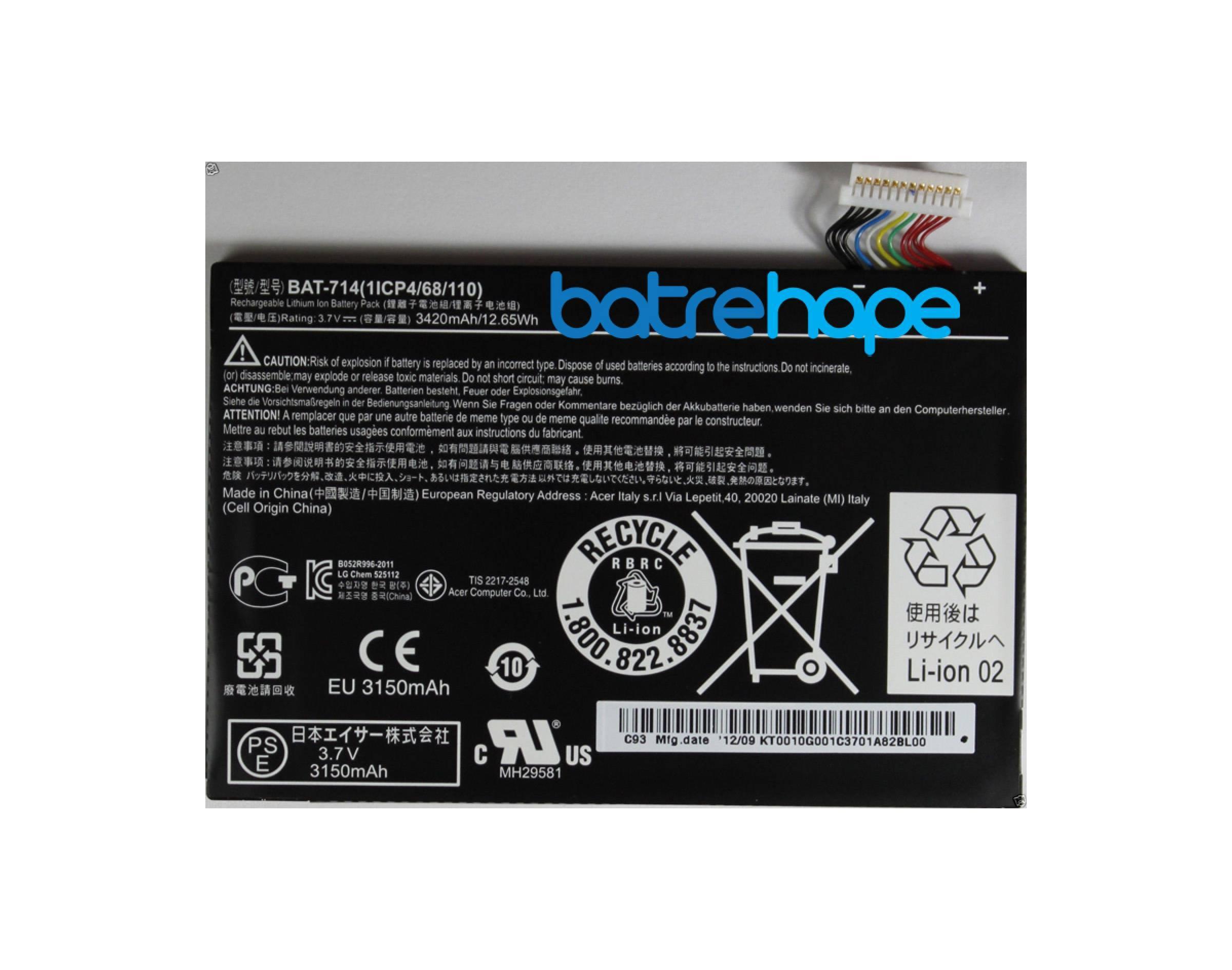 Baterai Battery Acer BAT714 Bat-714 Iconia Tab A110 1ICP4/68/110 Ori