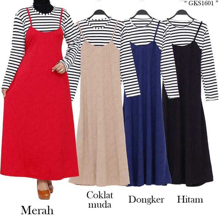 Baju Gamis Overall Murah Motif Salur Bahan Jaguar emboss / Fashion / Fashion Wanita / pakaian / pakaian wanita / Baju Muslim / baju muslim wanita / Baju Muslim & Jumpsuit / gamis / gamis muslim wanita