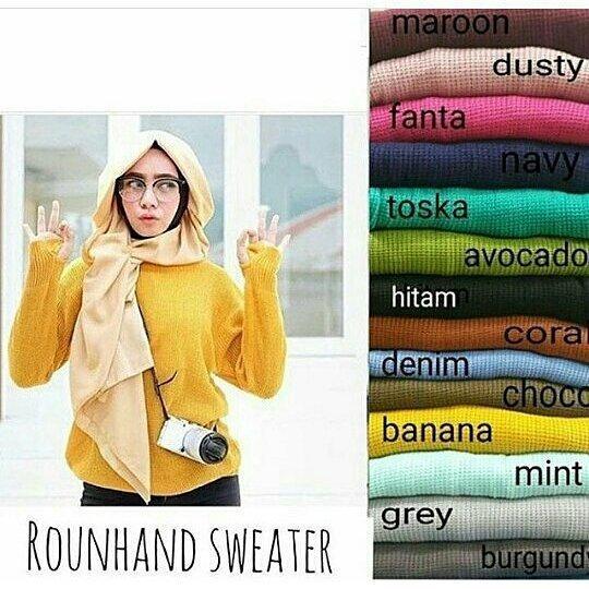 Roundhand sweater   Baju Rajut wanita   Baju Rajut   Kaos Rajut   Baju  Rajut Panjang 6b1c34ca20