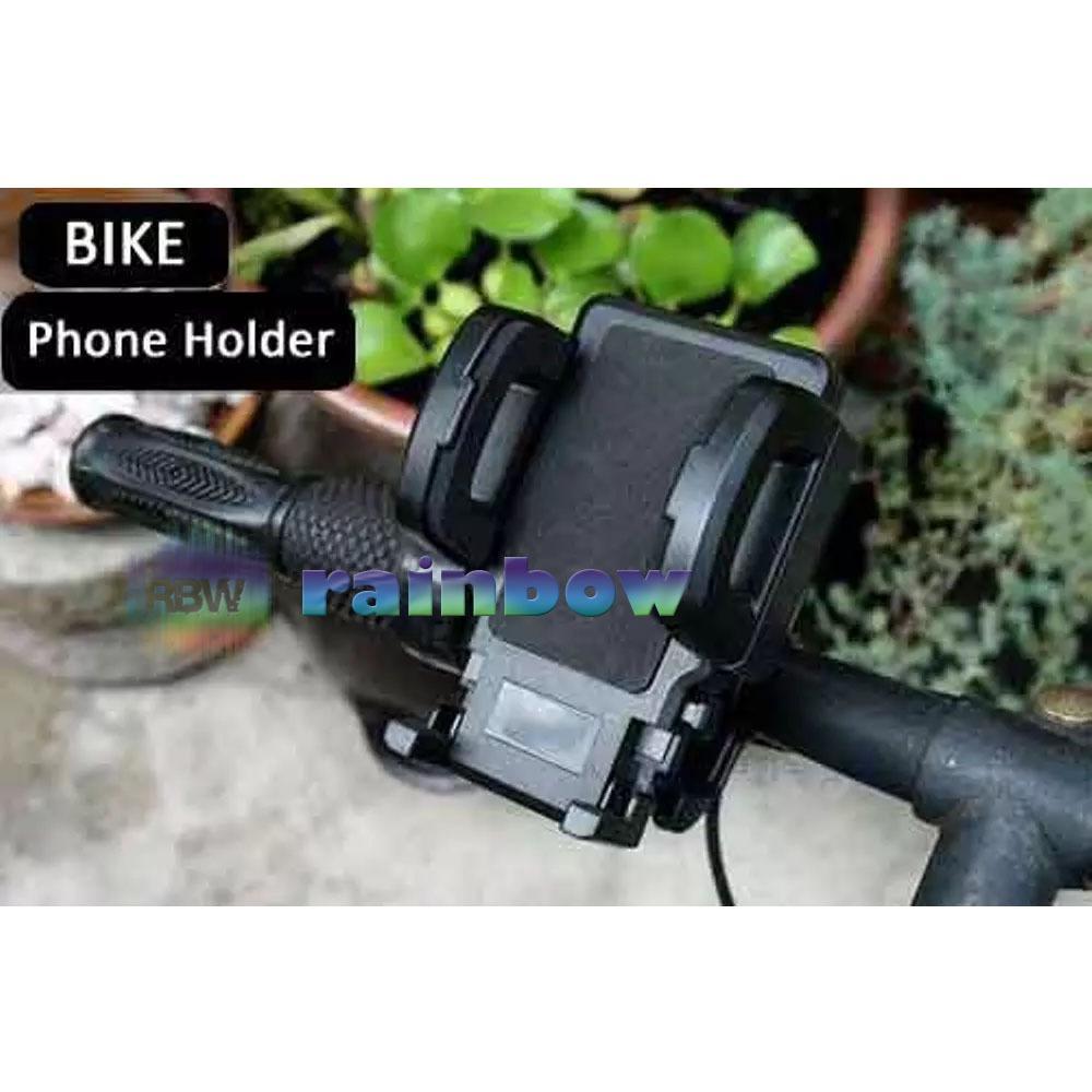 Rainbow 2 in 1 Holder Stang Sepeda atau Motor / GPS Holder 2in1 Sepeda Dan Motor (Rotasi 360°) / Bicycle Phone Holder / Tempat Taruh Handphone di Sepeda atau Motor / Holder di Stang Sepeda / Holder Multifungsi / Pegangan Hp / Dudukan Hp - Hitam