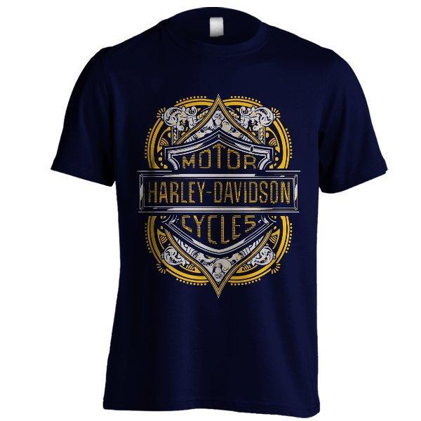 Kaos Harley Davidson Emblem 02 Gold Gy Navy Biru Dongker Baju Distro Motor Cycles Motor Gede Ukuran Besar BigSize XXXL