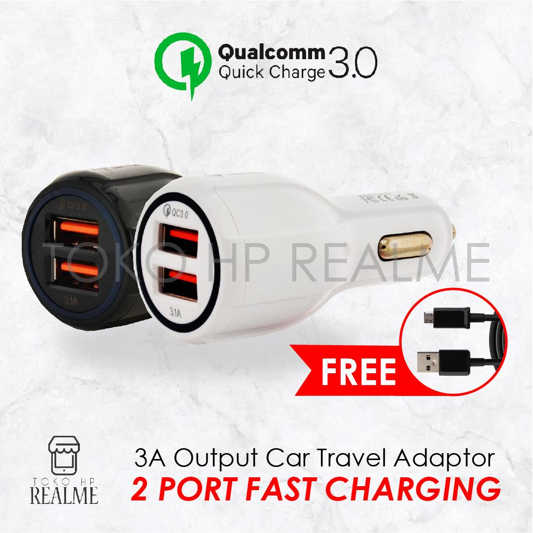QC 3.0 Technology 2 USB ports car charger mobil faster charge 6.0 A Toko HP Realme