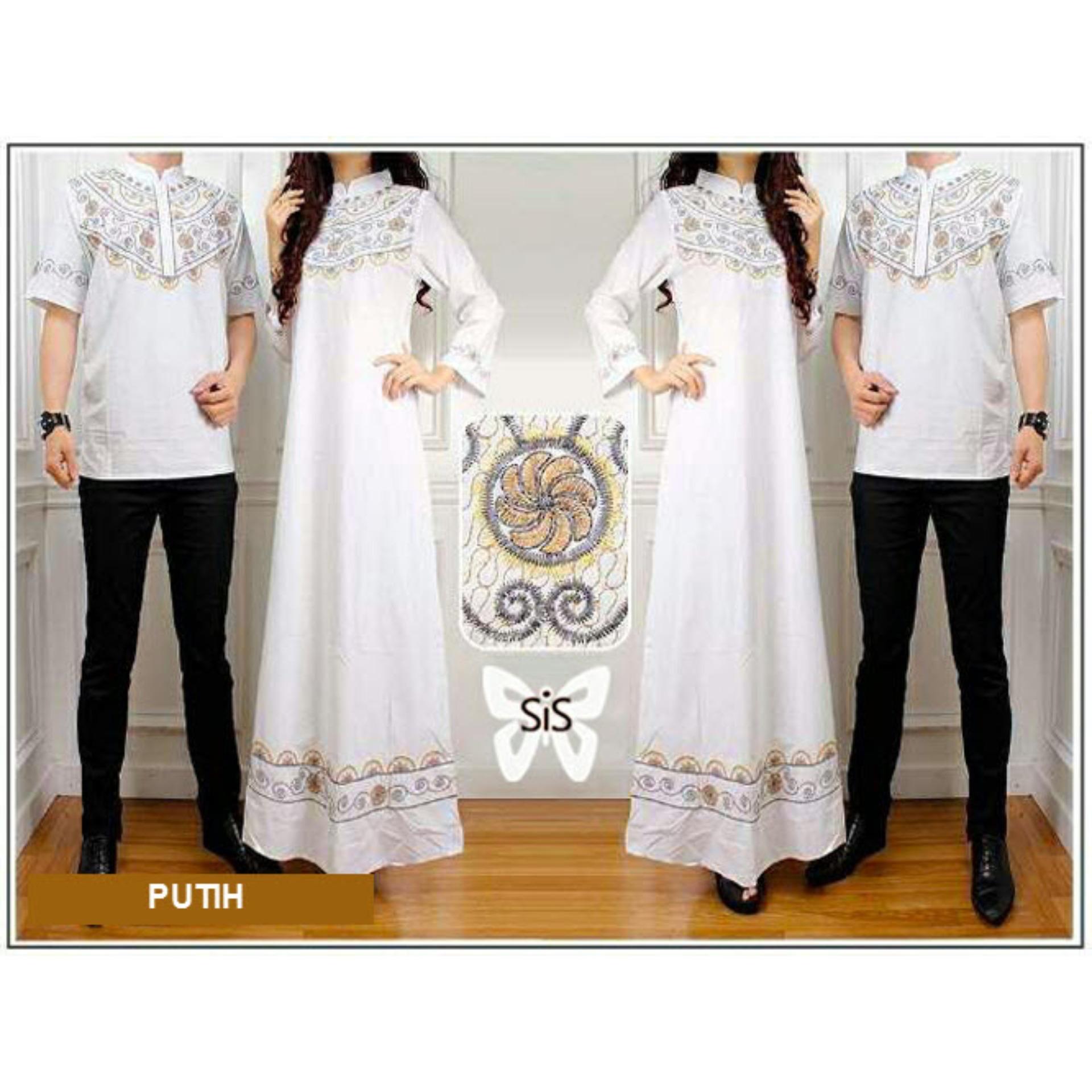 Flavia Store Baju Muslim Couple Bordir FS0497 - PUTIH / Sarimbit / Batik Pasangan / Sepasang Busana Syar'i / Kemeja Koko Pria Gaun Muslimah Gamis Syari Wanita / Srelegant