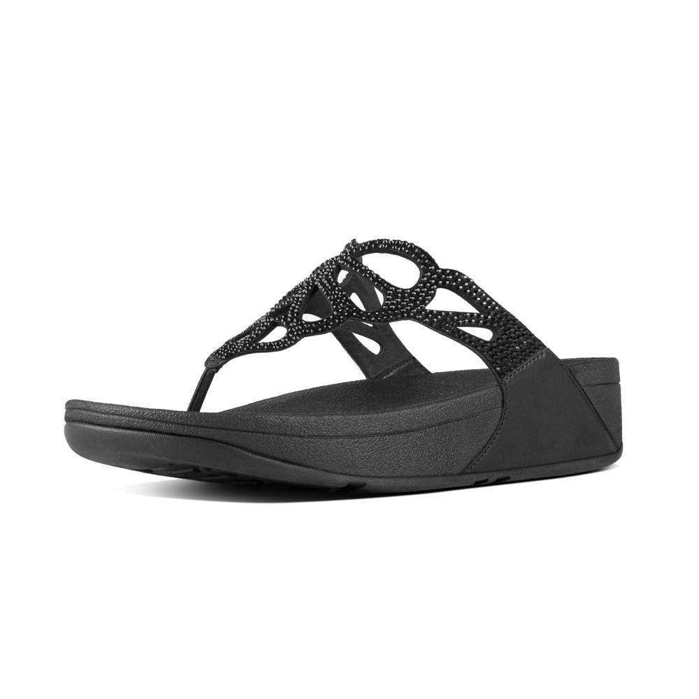 Fitflop Sandals Bumble Crystal Toe Post Black, Footwear, Womens