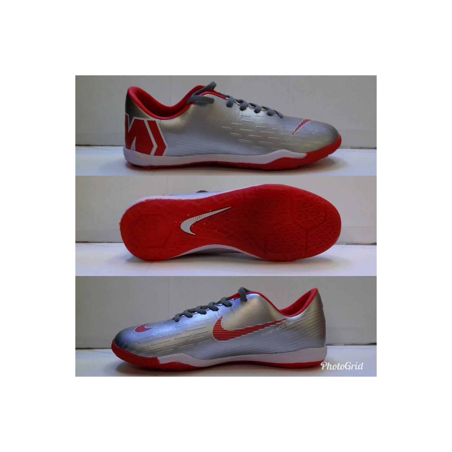 sepatu futsal Nike mercurial enginereed silver list merah sol karet
