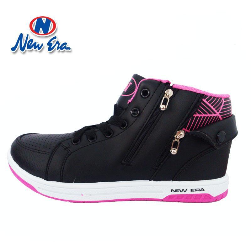 New Era Tuscany Sepatu Sekolah Sepatu Casual Warna Hitam Pink e331a52327