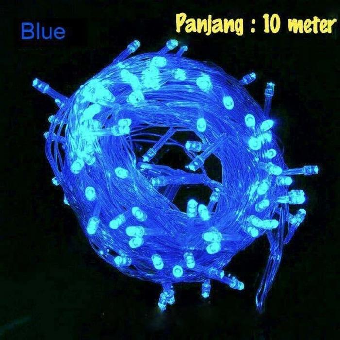 Lampu LED Dekorasi Dan Hias Tumblr Natal Twinkle Light Warna Biru 10 Meter FULL + Ada