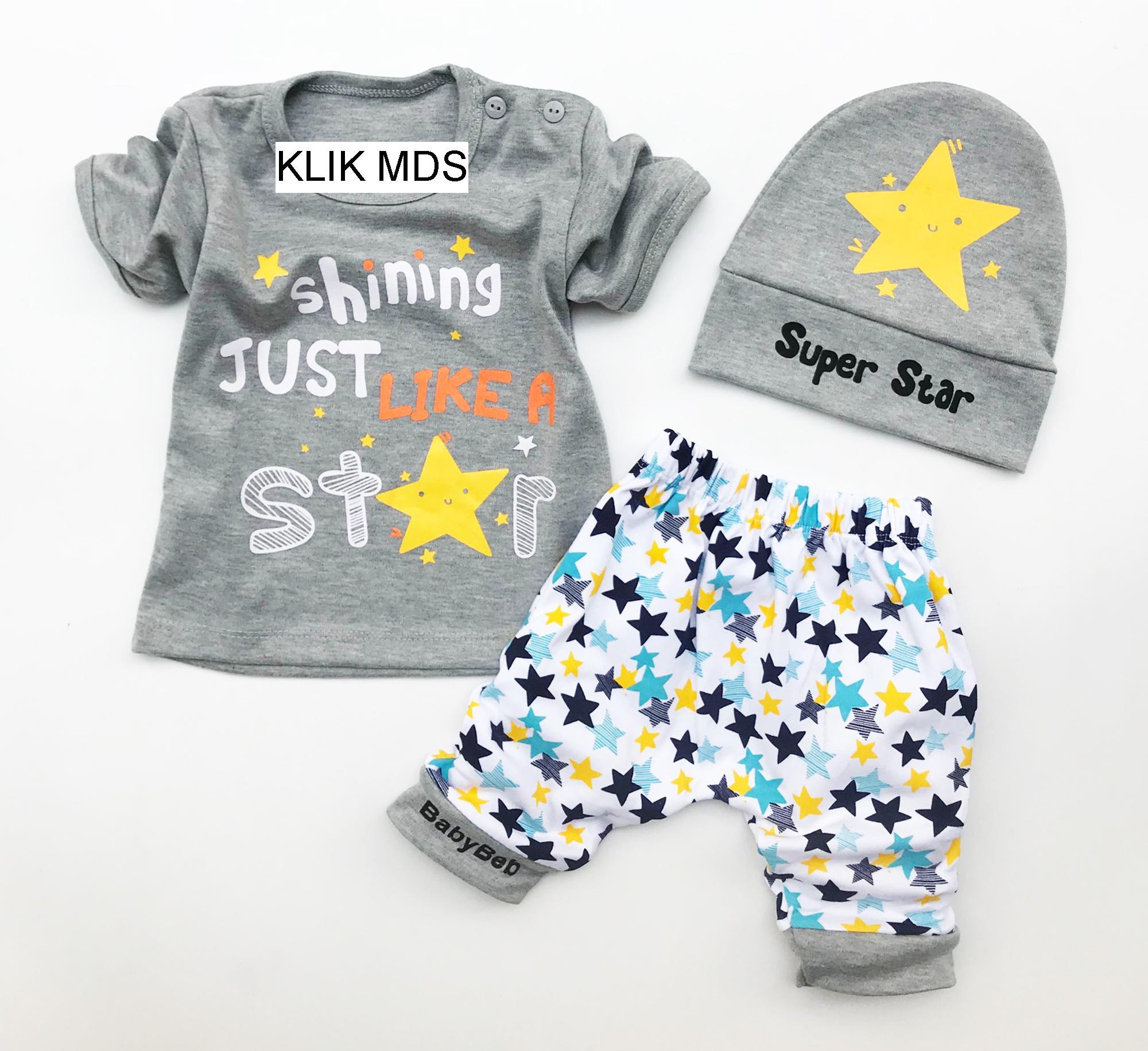 Klik Mds Baju Bayi Anak Setelan Atasan dan Celana Motif Karakter Shining Just Like A Star - free topi