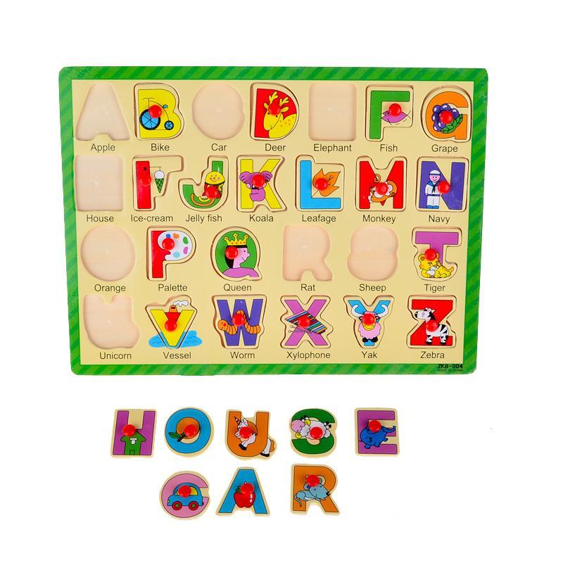 lumbalumbi Edukasi - Puzzle Kayu Knob Huruf Kapital - Mainan Anak