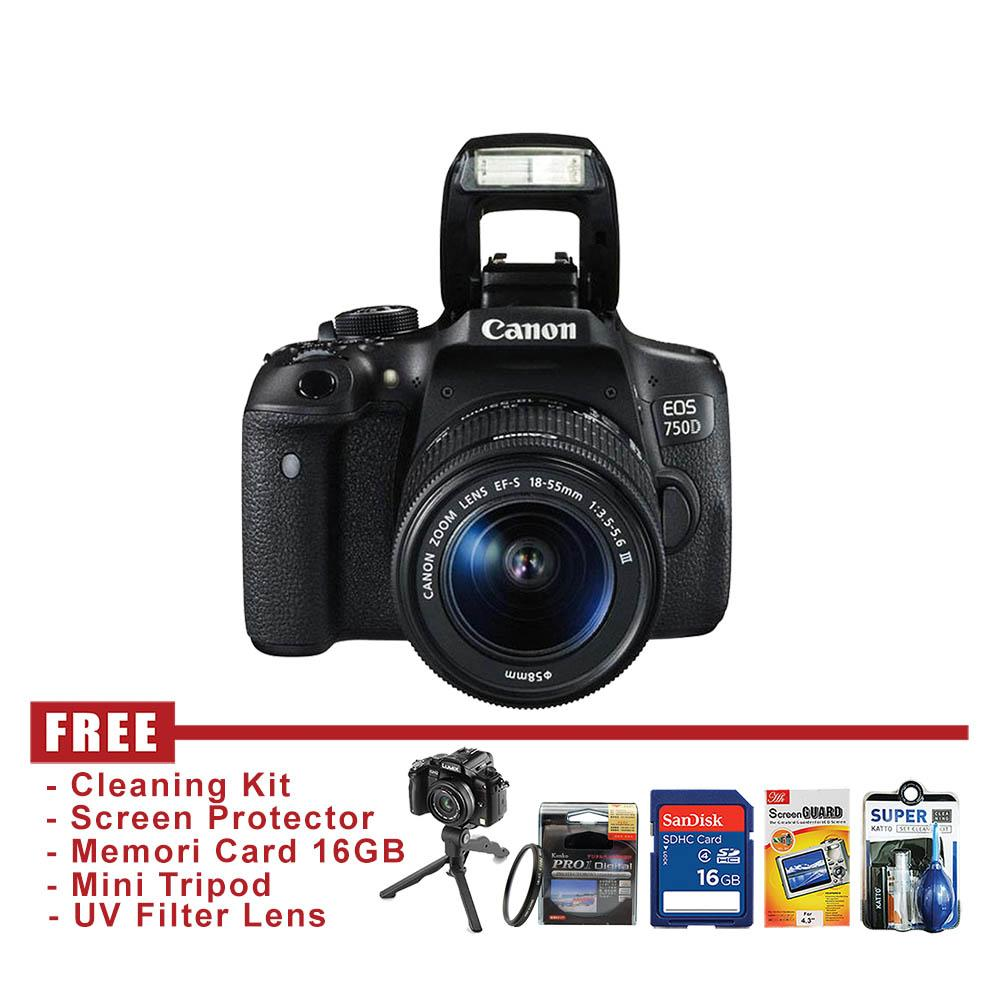 Canon EOS 750D Kit EF-S 18-55MM III Kamera DSLR - FREE Accessories