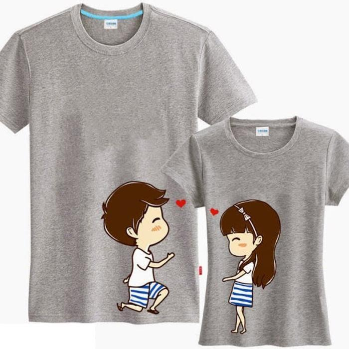 Fashion Story - Kaos Couple Say Love Abu / Kaos Pasangan / Baju Couple Terbaru / Kaos Lucu/Baju Kapel