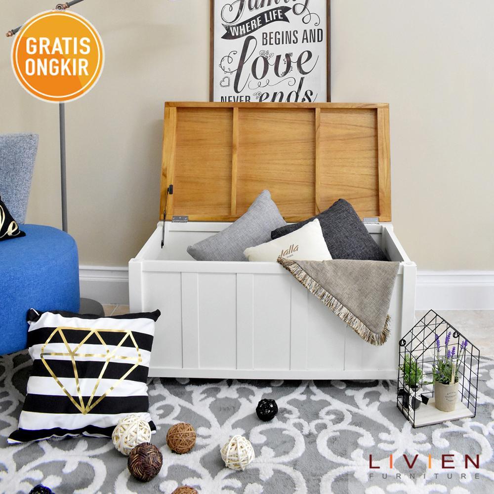 Livien Furniture Brand Rak Buku Mayple Story 5 Tingkat Storage Bench Maple Multifungsi Box Kursi
