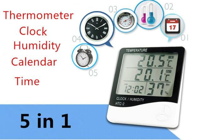 Promo Termometer Suhu Ruangan Digital HTC-2 / Hygrometer, Jam, Kalender Meja Original