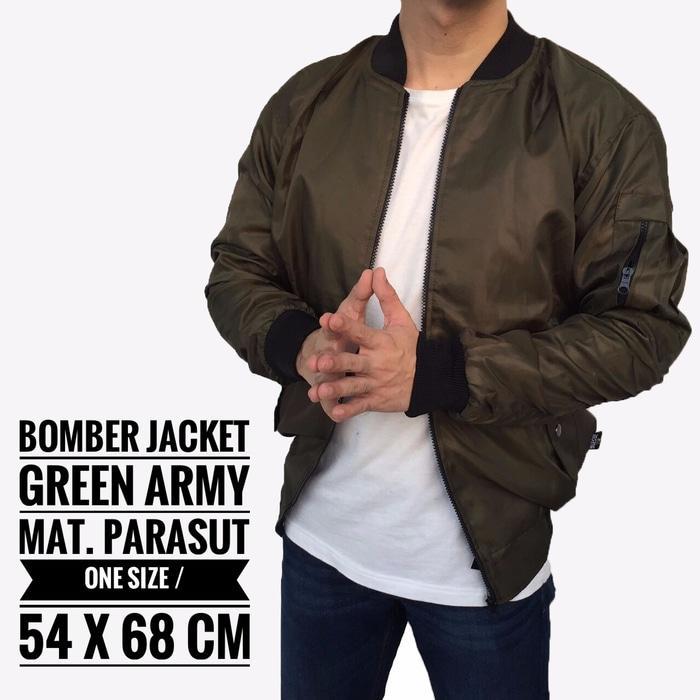 Sedang Diskon!! Jaket Bomber Army Pria Cowok Casual Warna Hijau Reversible Bolak Balik - Hitam - re