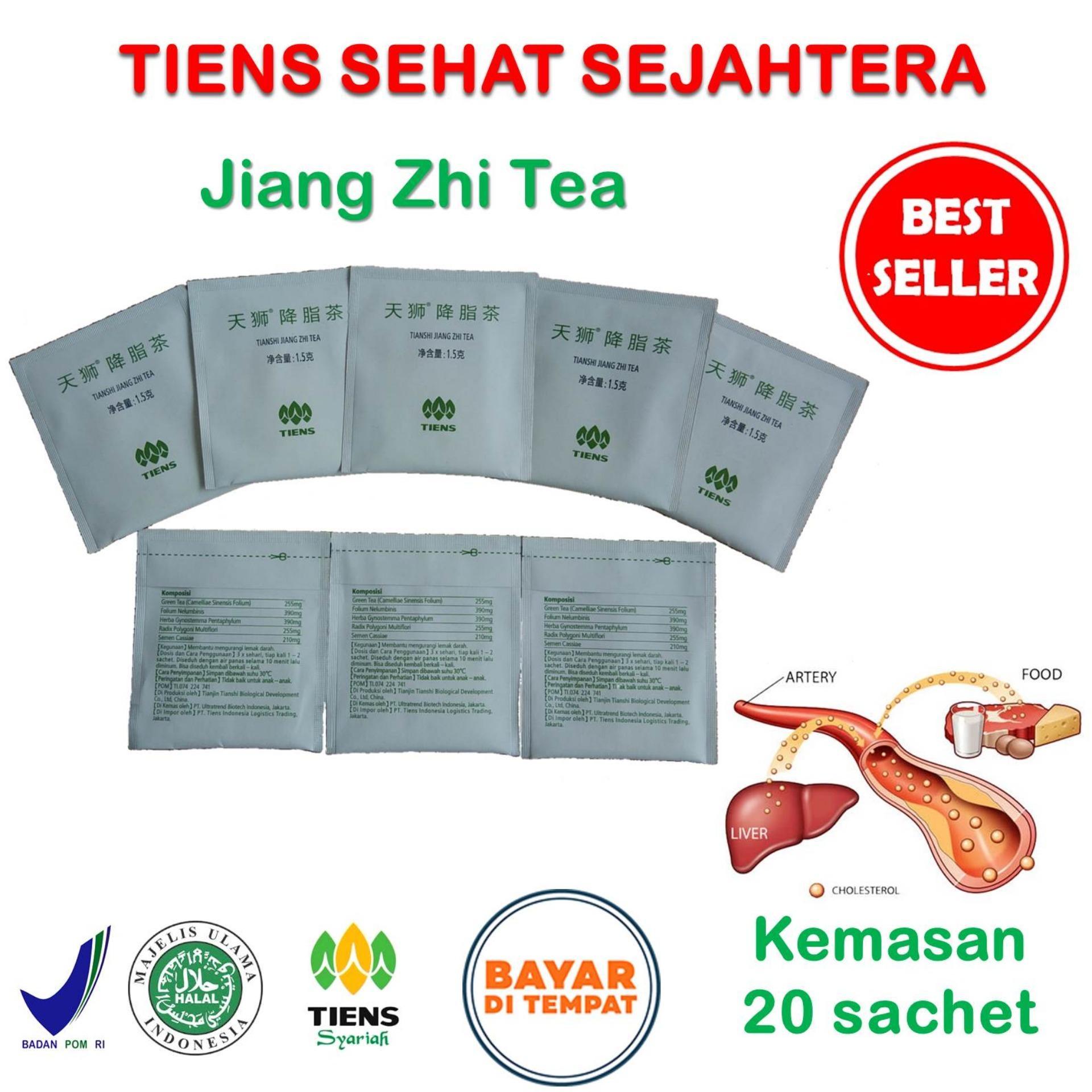 Tiens Jiang Zhi Tea / Teh Obat Herbal Kolesterol / Paket Hemat 20 Sachet + Gratis Kartu Diskon Toko Tiens Sehat Sejahtera
