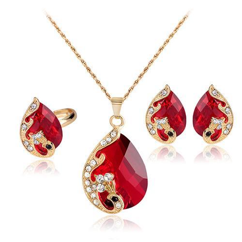 Bluelans Wanita berlian imitasi liontin kalung anting cincin pesta pernikahan perhiasan Set