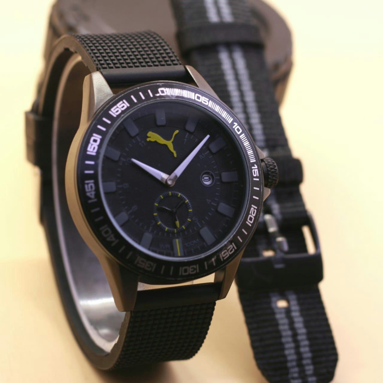 jam tangan PUMA ruber tali karet + canvas fashion pria