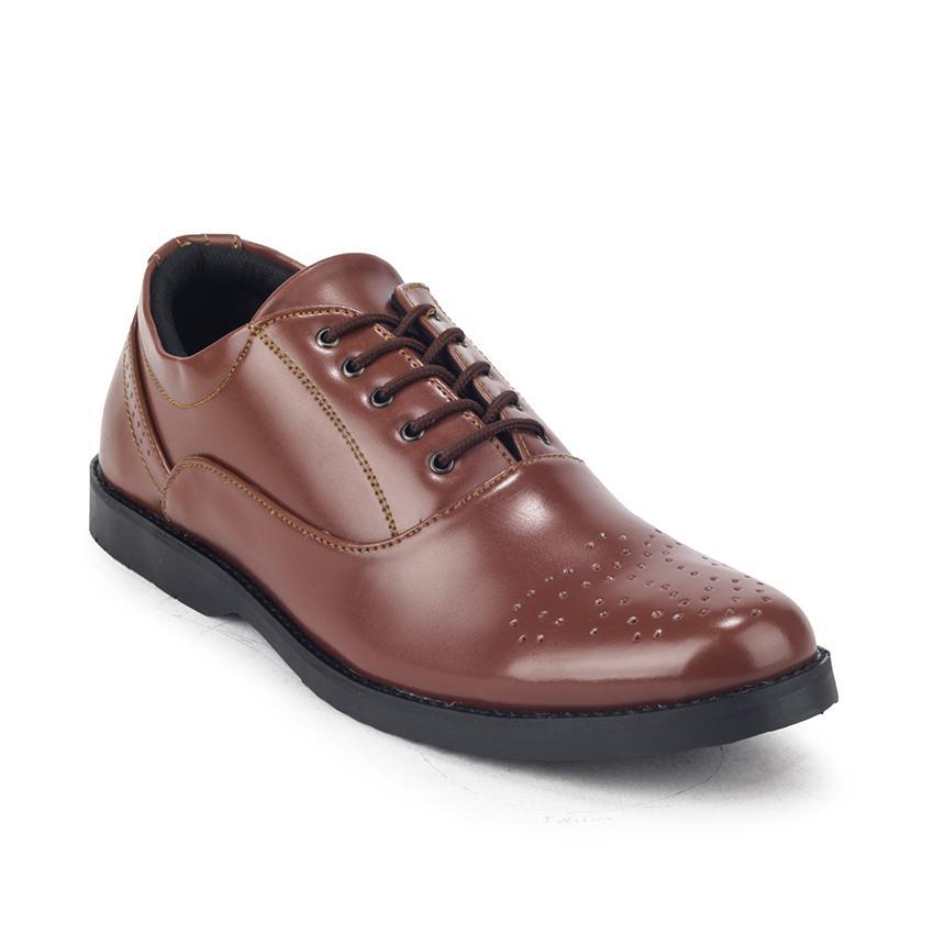 Sepatu Formal Tali Kerja Kulit Pria Giant Flames Mavendra Brown