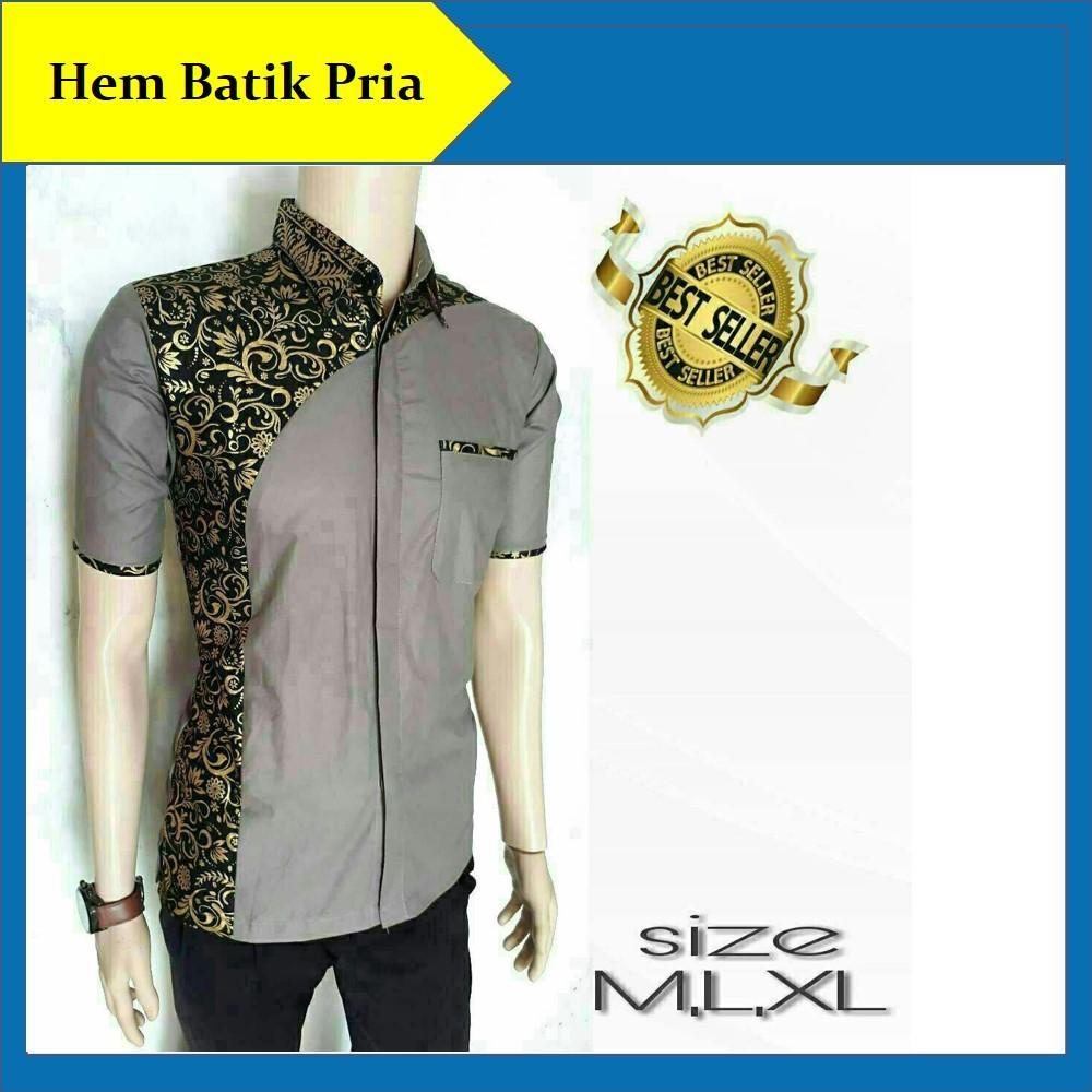 Hem Batik Pria Kemeja Batik Pria Kombinasi Modern Baju Batik Seragam Kantor