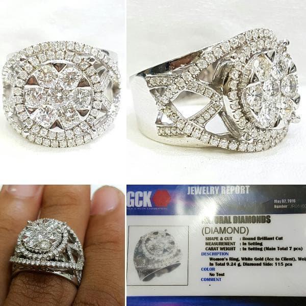 Cincin Emas Putih 9,24gram Berlian Eropa 122pcs