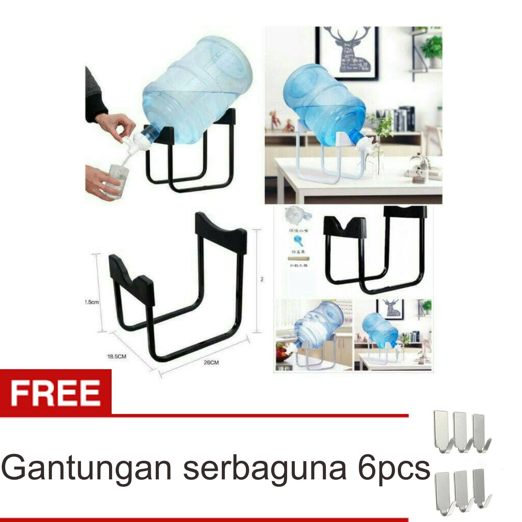 Lanjarjaya Rak Galon Tatakan Galon + Kran Air Galon / Dispenser Air Galon / Dispenser Minuman / Tatakan Aqua / Rak Besi Warna Random + Gantungan Serbaguna 6pcs