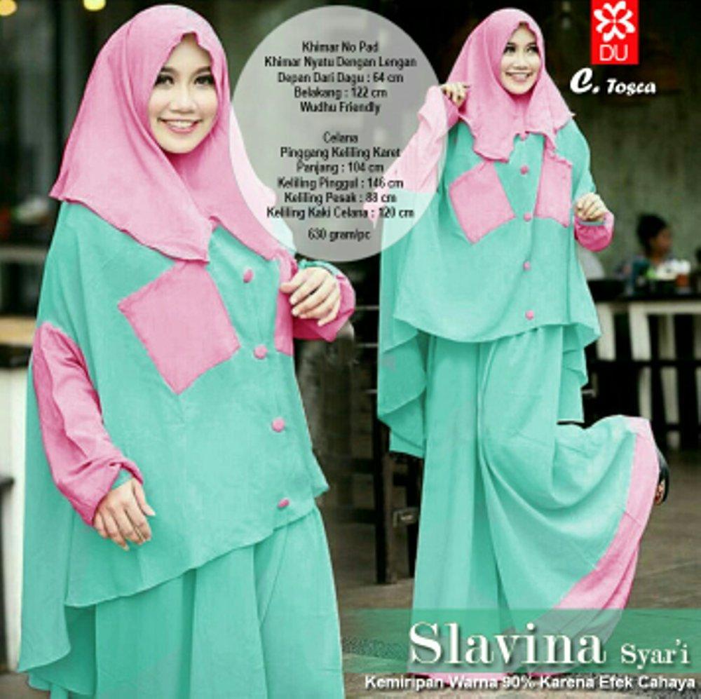 Slavina Hijab Set 2in1 Celana Kulot Plus Khimar Cardi Fit to XXL di lapak anayanda shop anayandashop