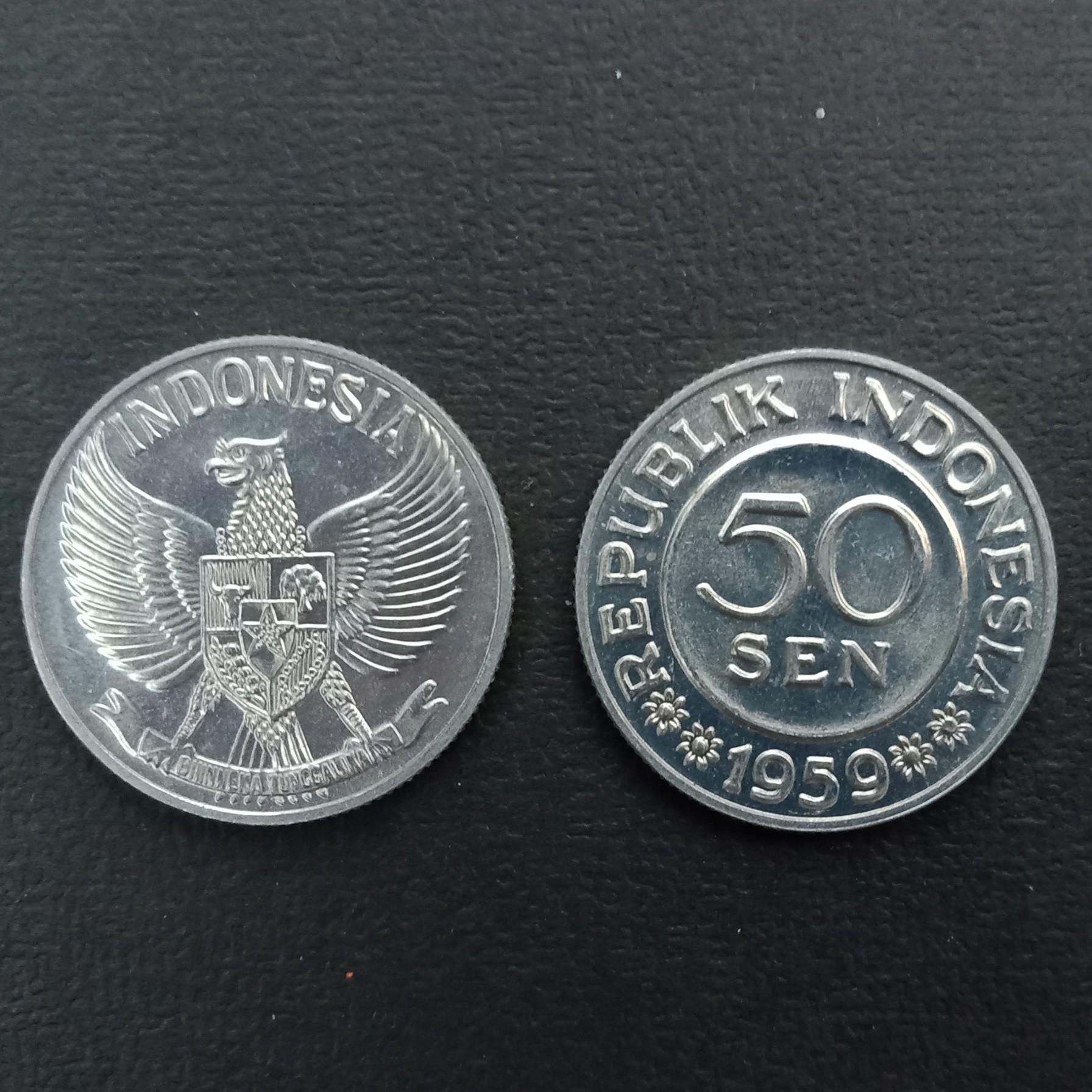 Uang kuno koin 50 sen kondisi bagus