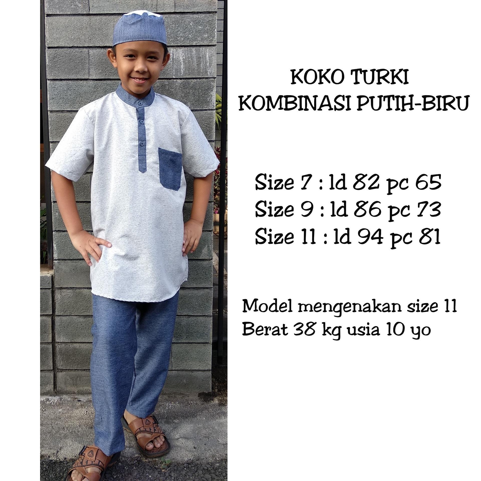 Koko Turki Anak Kombinasi Putih Biru Glitter 7-9-11 Tahun