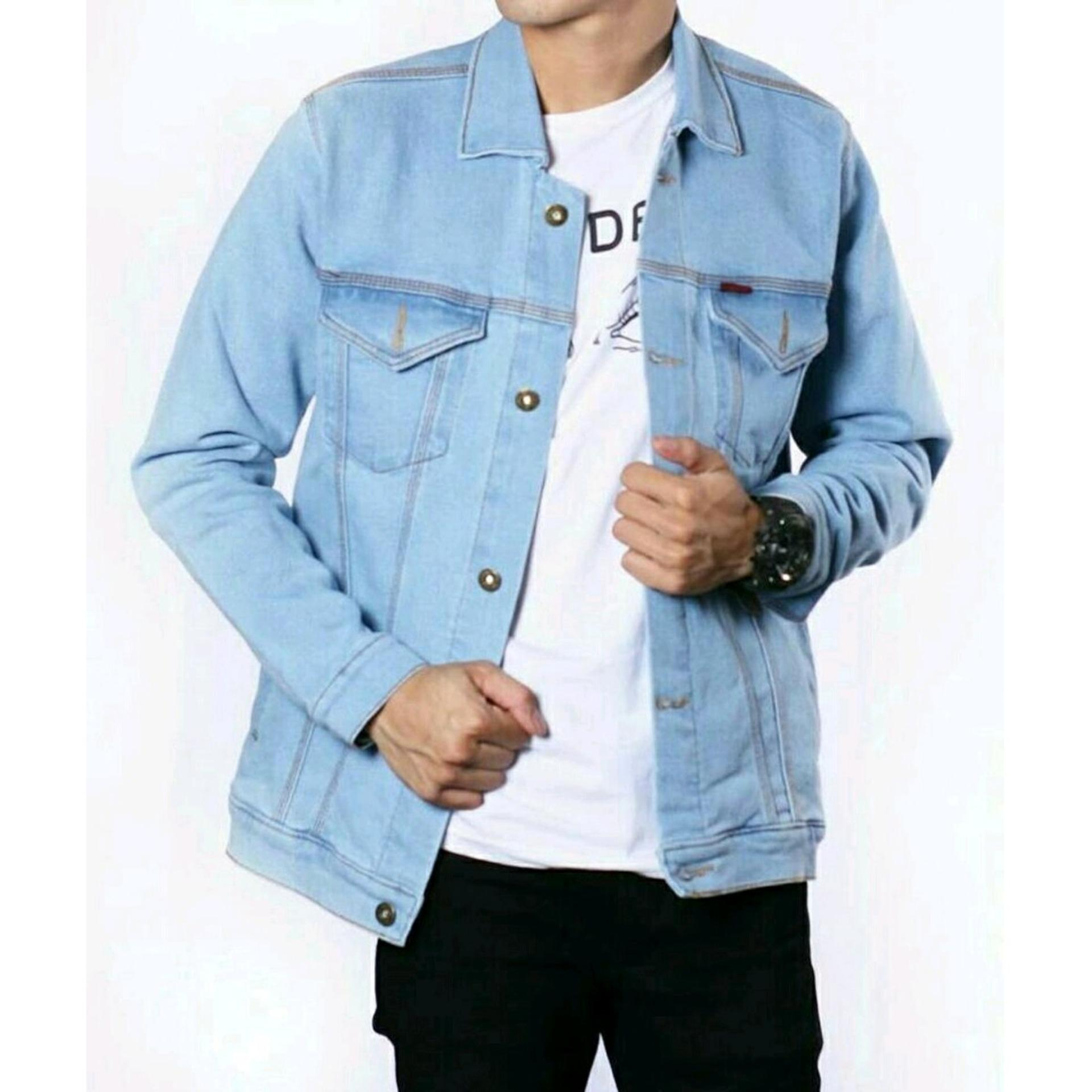 Make It Outfits - JAKET JEANS DENIM CASUAL PRIA - LIGHT BLUE 94cce4ddc5