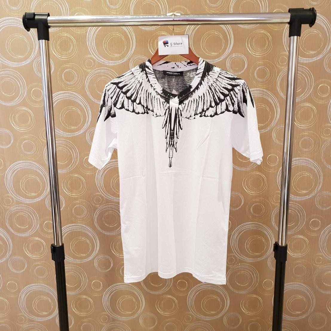 Kaos marcelo burlon black wing import distro high quality putih unisex