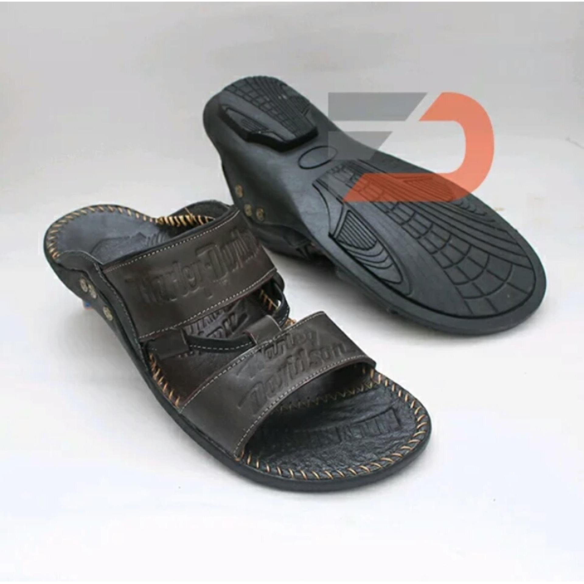 Sandal Santai Japit Pria Bahan Kulit Sapi Asli HR 1