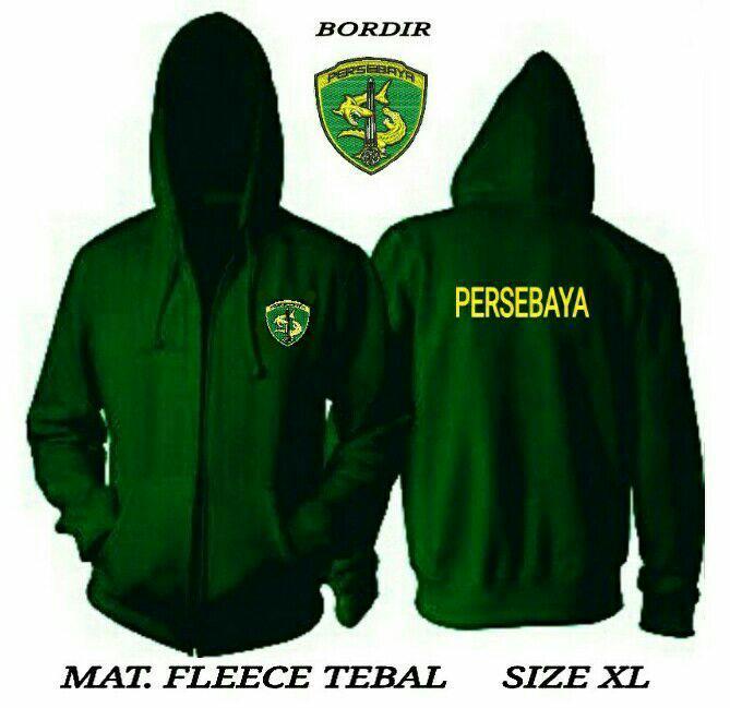 Jaket hoodie zipper Persebaya Surabaya fleece tebal size XL