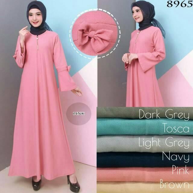 Baju Gamis Wanita Gamis Fashion Remaja Gamis Bahan Kulit Jeruk 016686 BROWN