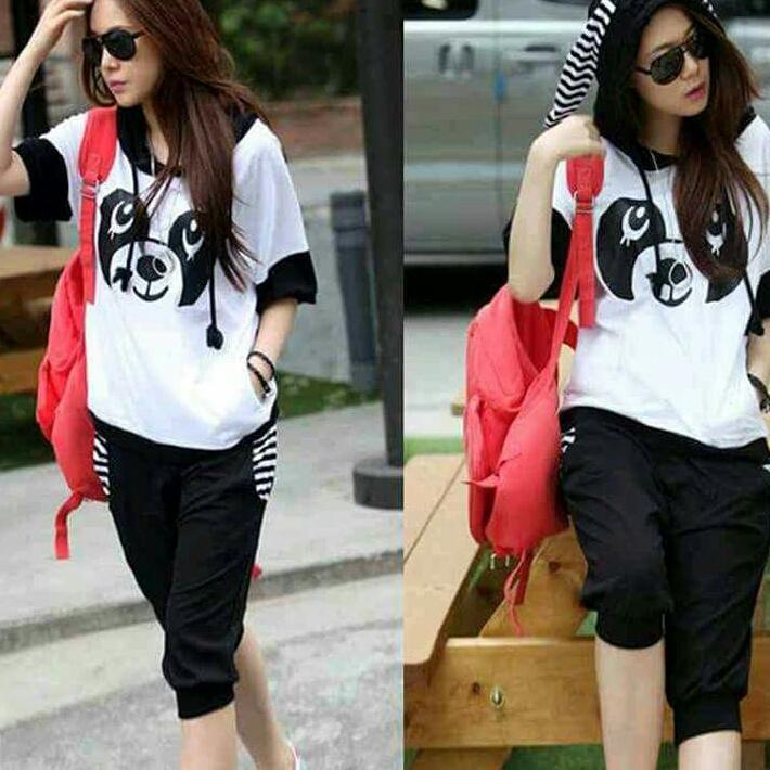Tj-stelan wanita panda putih hitam-pakaian+celana-stelan santai-harga