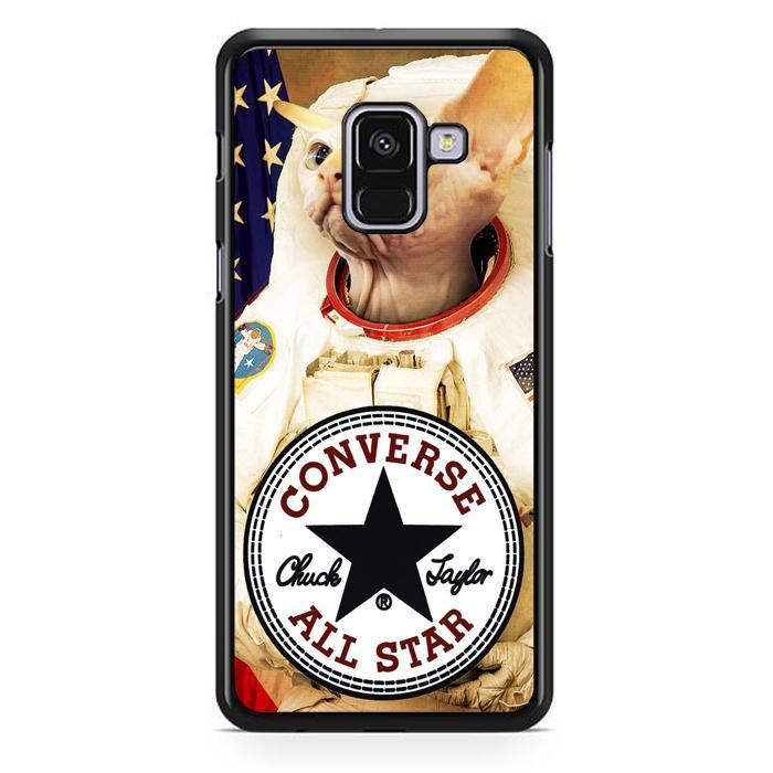 Casing Hardcase Samsung Galaxy A8 Plus 2018 Motif Astronaut Cat Converse W3097