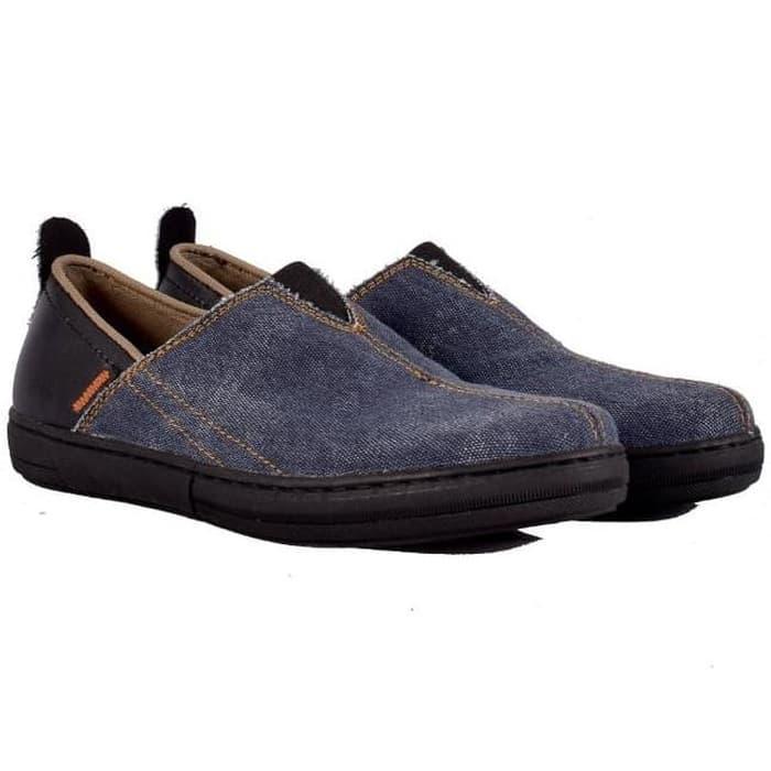 ORIGINAL!!! Sepatu Pria Cowok Slip On Selop Sol Jahit Ukuran Besar Jumbo - Biru
