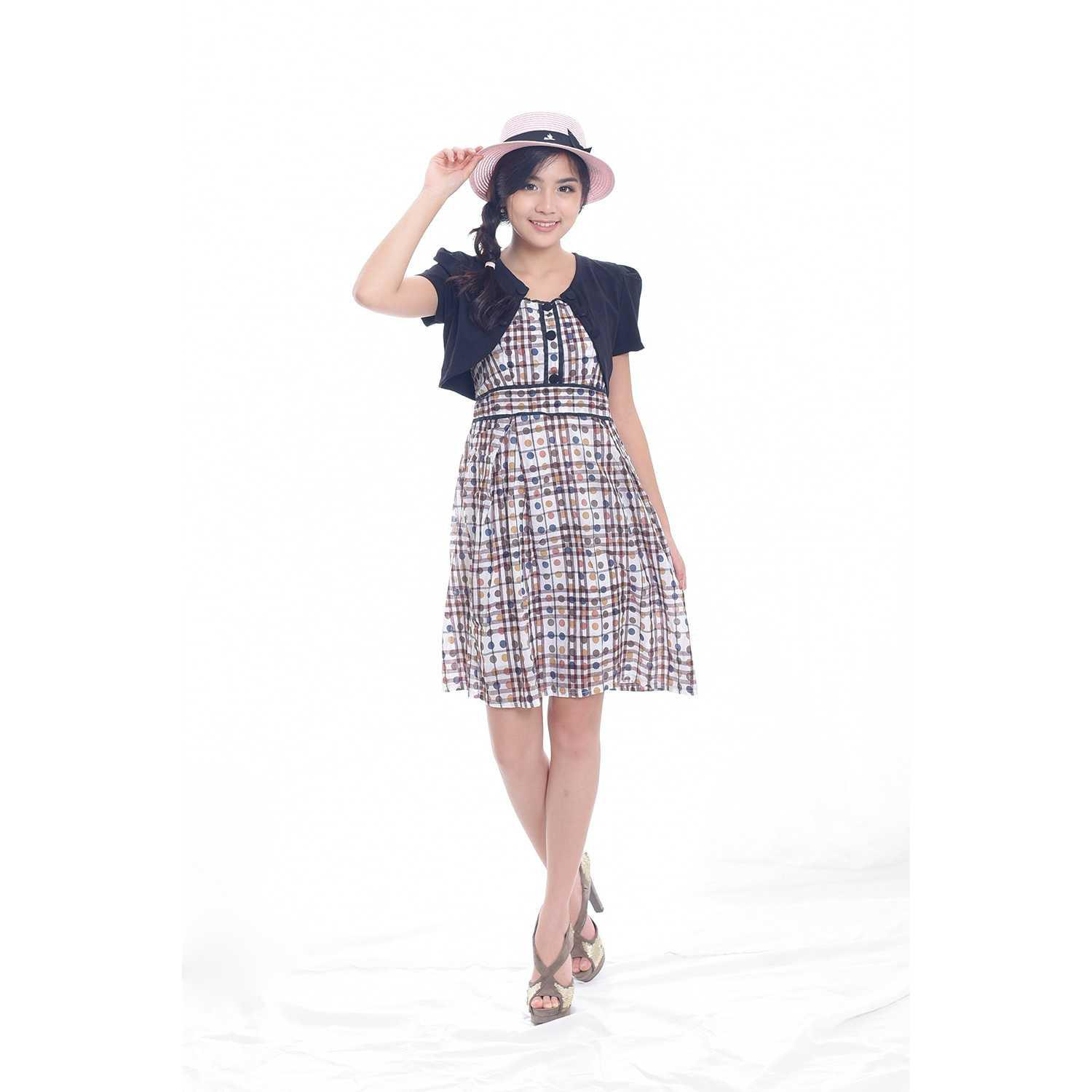 Best Seller!!! Jfashion Korean Style Stelan Midi Dress Combination - Imelda Keren Terbaru Murah