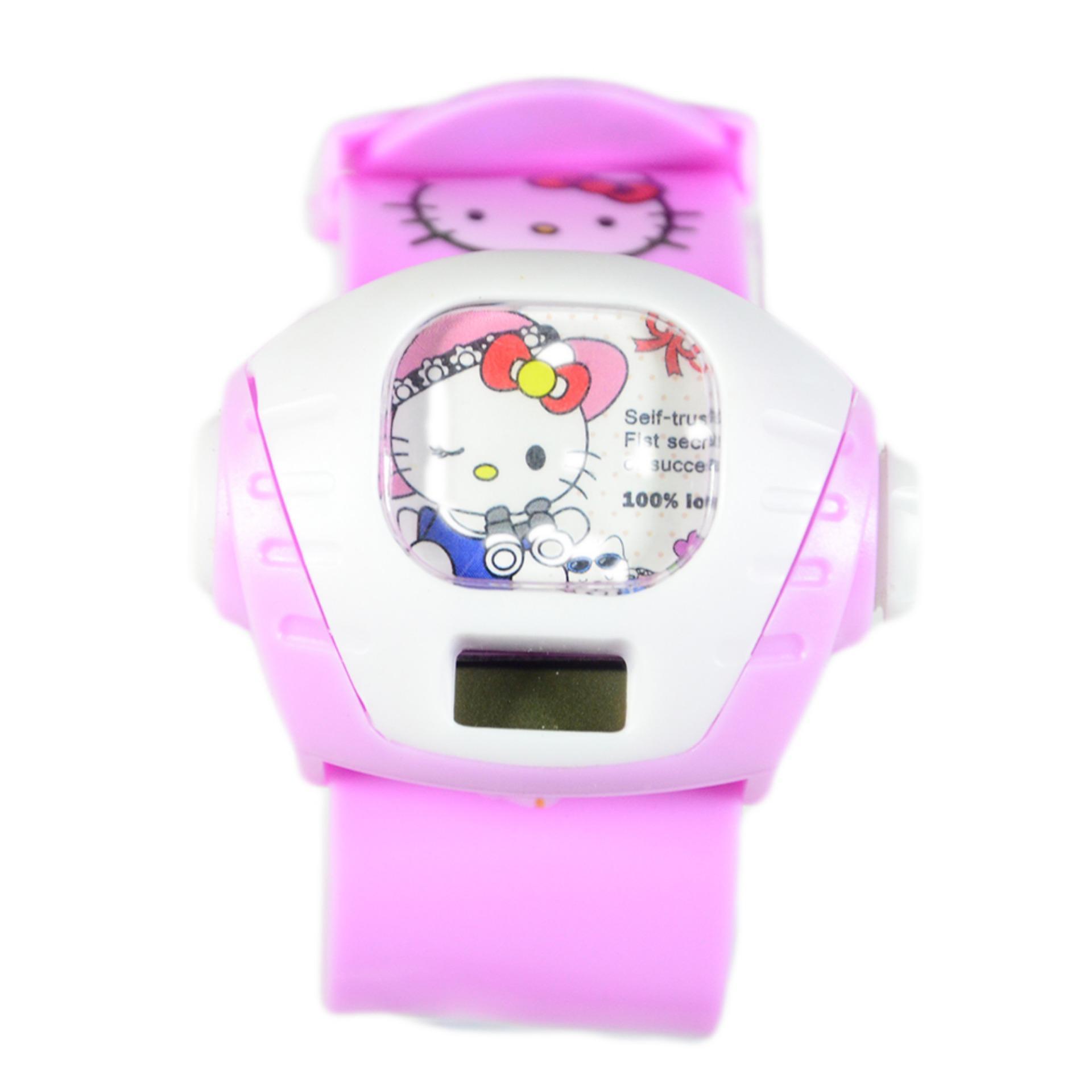 DnB Collection Jam Tangan Anak Proyektor Kotak Hello Kitty - Pink Muda